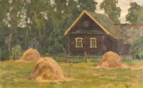 Nikita Fedosov Haystacks Beside the House