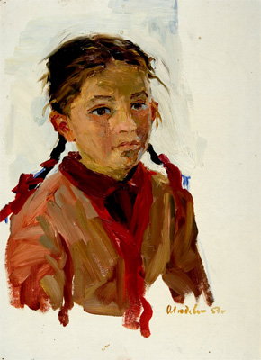 Olga Ludevig Study of a Girl with Braids