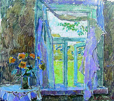 Vyacheslav Zabelin Windows  interior, floral, flower
