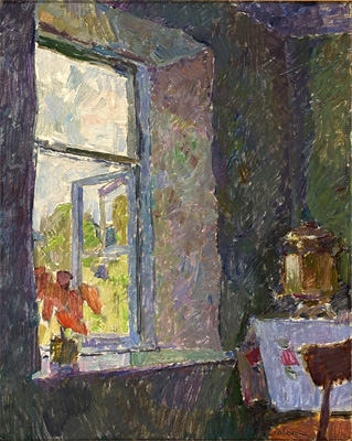 Vyacheslav Zabelin A Window interior, floral, flower
