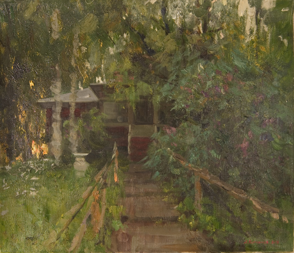 Alexanderliech Kosnichev Sunset at Dacha Landscape, Buildings