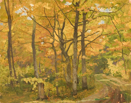Nikolai Sergeyev Autumn in the Forest Near the Town of Zvenidgorad