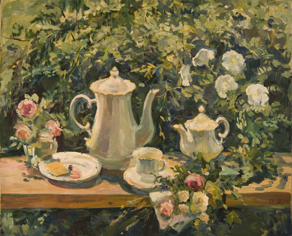Olga Belakovskaya Still Life with White Dishes Still Life, Floral
