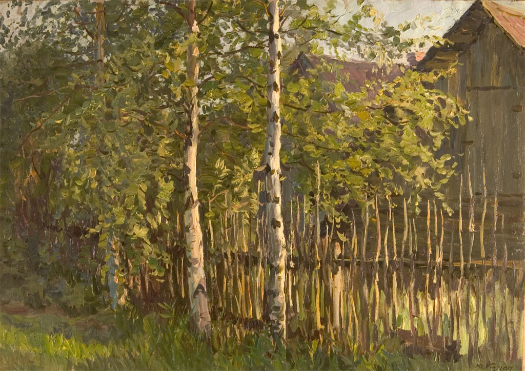 Yuri Kugach Birch Trees Near Fence